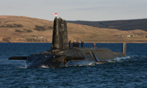 The Trident nuclear submarine HMS Victorious is pictured near Faslane in Scotland. HMS Victorious was the second of the four ballistic missile submarines to emerge from the Devonshire Dock Hall in Barrow, where she was officially 'launched' on 29 September 1993. Based at Clyde Naval Base, HMS Victorious' is continuing the Royal Navy's proud record of over 40 years of uninterrupted nuclear deterrence, as at least one of the four 'bombers' is on patrol at any time.